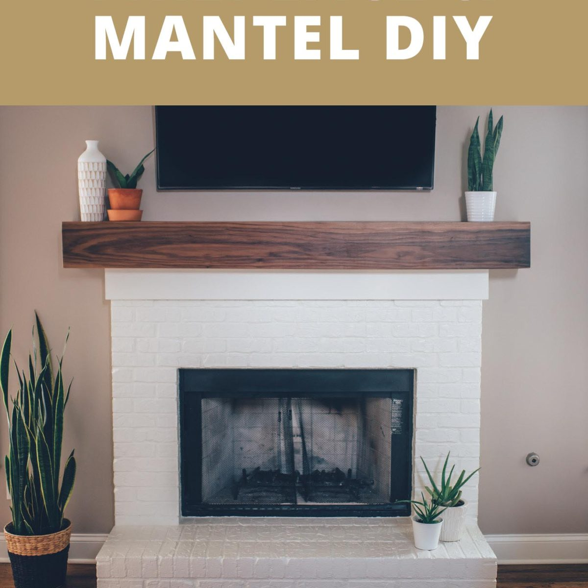 Modern White Brick Fireplace Amp Walnut Mantel Diy The