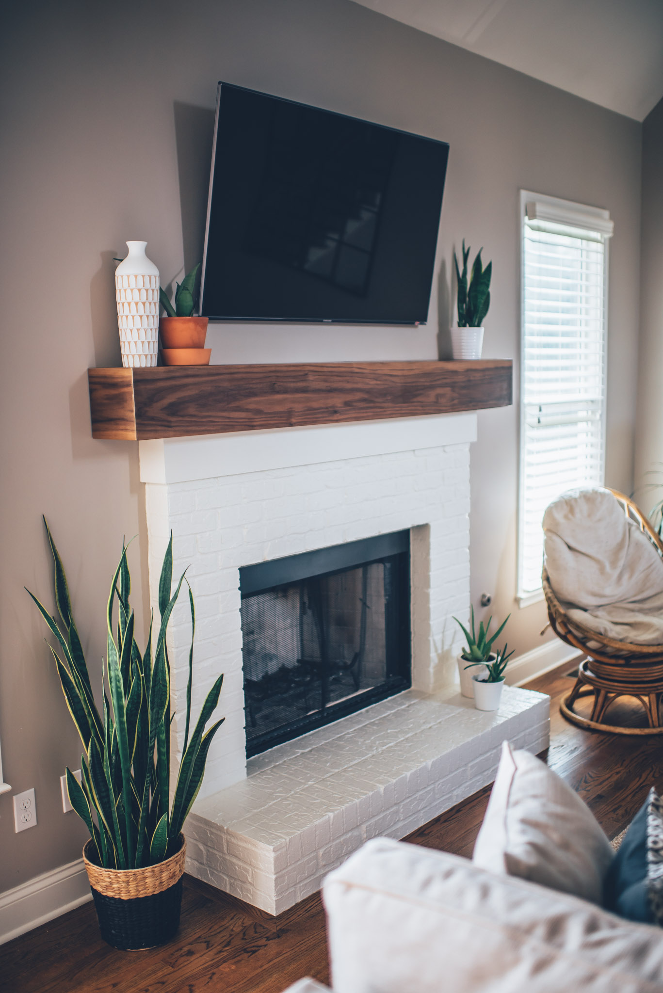 Modern White Brick Fireplace Walnut Mantel Diy