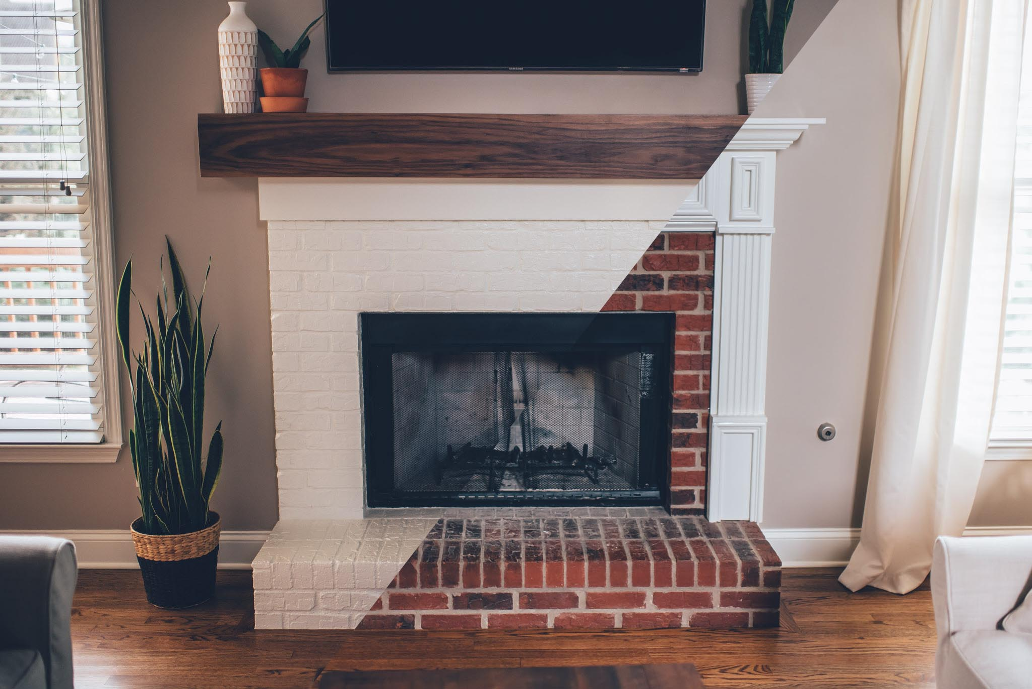 Caulk Around The Lower Mantel Brick And Apply Appropriate Wall Paint To Fill Anything In